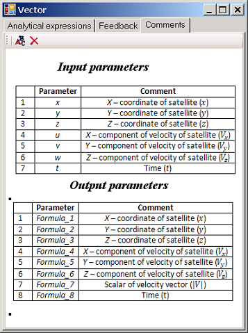 Pareameters of Vector object